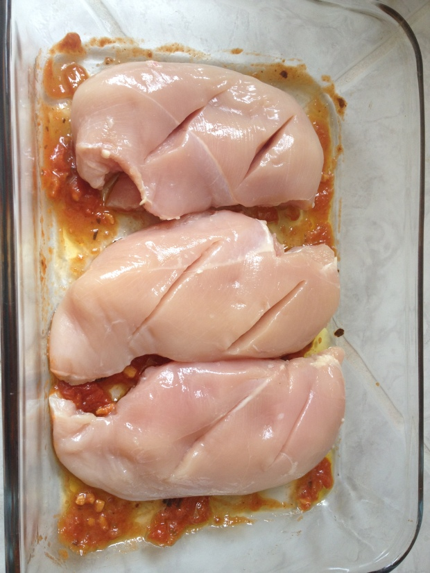 Prepped chicken breasts
